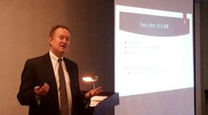 Mike Frisbie attorney speaks at Lutheran Community Telford